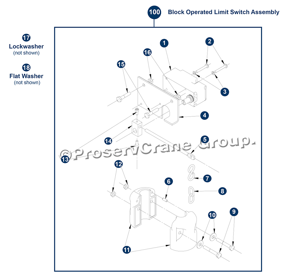Block Operated Limit Switch Assembly B Frame Shown Proservcrane Group Hoist Wiring Diagram Gear Your Custom Cart Is Empty Please Choose A Part